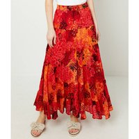 Printed Midi Flared Cotton Skirt