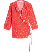 shop for Floral Print Wrapover Blouse with 3/4 Length Sleeves at Shopo