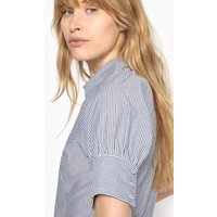 Striped Cotton Shirt with Puff Sleeves