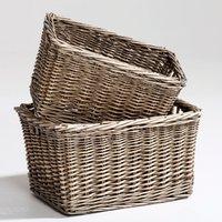 Set of 2 Semra Stackable Woven Rattan Baskets