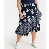 shop for Floral Patchwork Ruffled Midaxi Skirt at Shopo