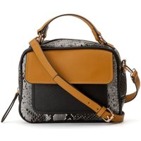 Snakeskin Effect Handbag with Top Handle and Detachable Shoulder Strap