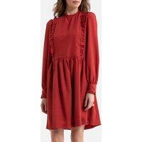shop for Ruffled Smock Mini Dress with Long Sleeves at Shopo