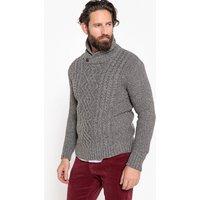 grigio chiné uomo Pull collo a scialle in maglia grossa