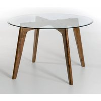 AM.PM Kristal Walnut & Glass Round Dining Table (Diameter 130cm)