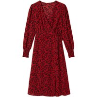 shop for Floral Print Wrapover Dress with Long Puff Sleeves at Shopo