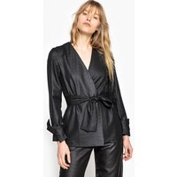 Metallic Look Tie Waist Jacket