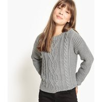 Cropped Cable Knit Jumper, 10-16 Years