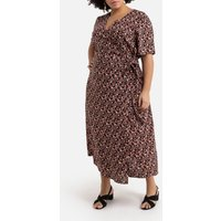 Wrapover Maxi Dress in Floral Print Satin with Short Sleeves