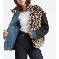 Reversible Denim Jacket with Faux Leopard Fur and Pockets