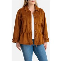 Faux Suede Utility Jacket with Drawstring Waist