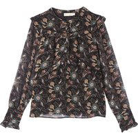 shop for Floral Print High Neck Long-Sleeved Blouse at Shopo