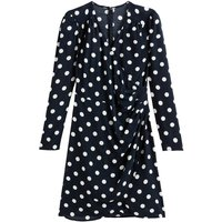 shop for Polka Dot Wrapover Dress with Puff Sleeves at Shopo