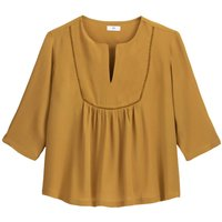 shop for Loose Fit Peasant Blouse with 3/4 Length Sleeves at Shopo