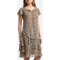 Ruffle Full Knee-Length Dress in Leopard Print with Short Sleeves