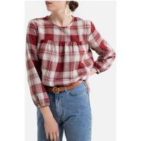 shop for Checked Cotton Blouse with Long Sleeves at Shopo