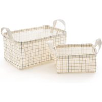 ACAO Check Print Cotton Storage Baskets, Small (Set of 2)