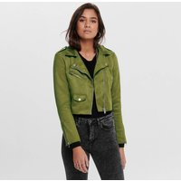 Short Faux Suede Jacket with Zip Fastening