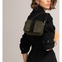 Dual Fabric Camera Bag in Faux Suede with Detachable Shoulde