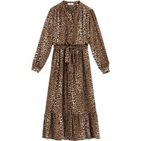 shop for Leopard Print Midaxi Dress with Ruffles and Tie-Waist at Shopo