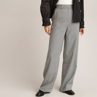 Checked Wide Leg Trousers with High Waist, Length 25.5""