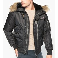 Short Jacket with Faux Fur Hood