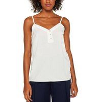 Buttoned V-neck Cami With Shoestring Straps