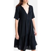 shop for Tiered Mid-Length Dress with Short Sleeves at Shopo