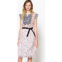 Floral Dress with Striped Ruffles on the Front