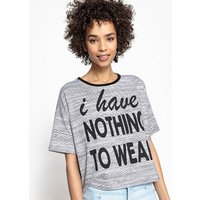 Slogan T-Shirt with Contrasting Crew Neck