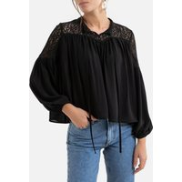 Tie-Neck Blouse with Long Sleeves and Lace Panel.