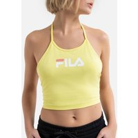 Cotton Mix Crop Top with Logo Print and Tied-Halterneck