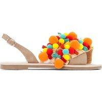 Sandals with Pompom Trim
