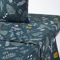 SUZANNE Foliage Print Cotton Percale Flat Sheet