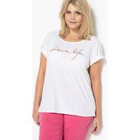 T-shirt Bianco ottico donna T-shirt con messaggio ricamato