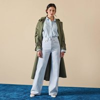 Long Cotton Duster Trench Coat with Pockets