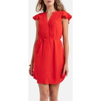 shop for Ruffled Mini Dress with Tie-Waist and Short Sleeves at Shopo