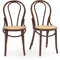 BISTRO Set of 2 Beech and Cane Chairs