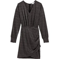 shop for Short Draped Glitter Dress with Long Sleeves at Shopo