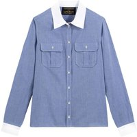Two-Tone Cotton Shirt with Long Sleeves