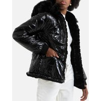 Reversible Padded Jacket with Faux Fur Hood