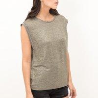 T-shirt bronzo donna T-shirt effetto brillante senza maniche