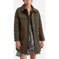Cotton Mid-Length Parka with Button Fastening.