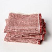 Set of 4 Linette Chevron Weave Linen Napkins
