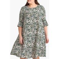 shop for Zebra Print Flared Dress at Shopo