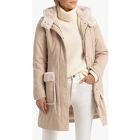 Mid-Length Hooded Coat with Faux Fur Trim
