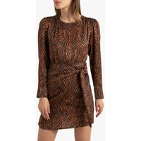 shop for Zebra Print Mini Dress with Tie-Waist and Long Sleeves at Shopo