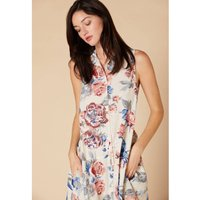 Sleeveless Midi Dress in Cotton/Linen Floral with Button Fastening and Tie-Waist