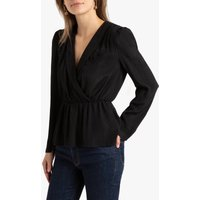 shop for Blazer Wrapover Blouse with Long Sleeves at Shopo