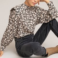 shop for Floral Print Blouse with Crew Neck and Long Sleeves at Shopo